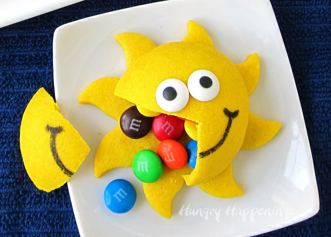 M&M filled sunshine cookies make fun summertime treats for kids.