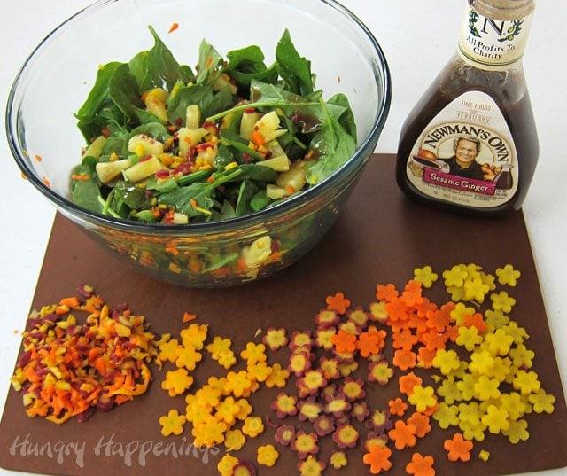 How to make Rainbow Carrot Flowers for a Hawaiian Luau Spinach Salad