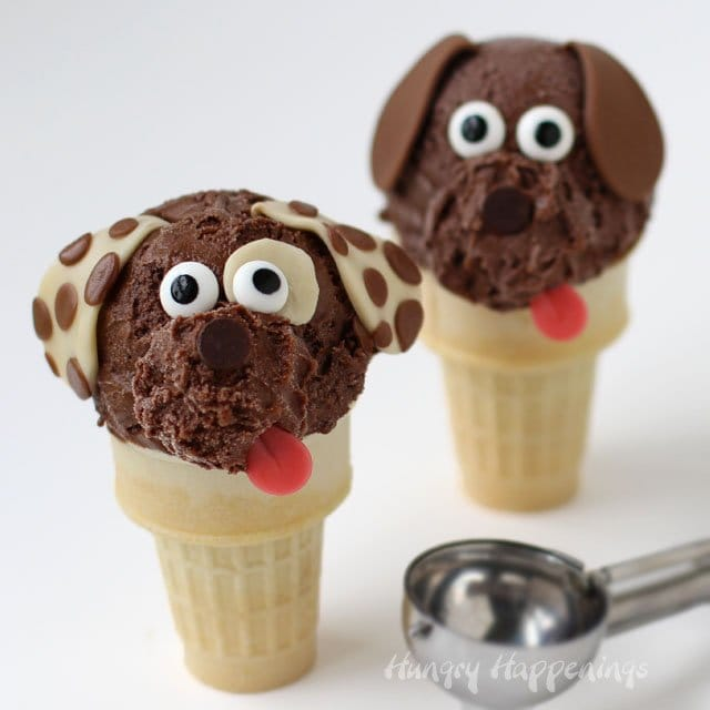 Scoop some decadently rich and creamy Double Chocolate Cashew Milk Ice Cream onto cones to make these adorable puppies. Recipe from HungryHappenings.com