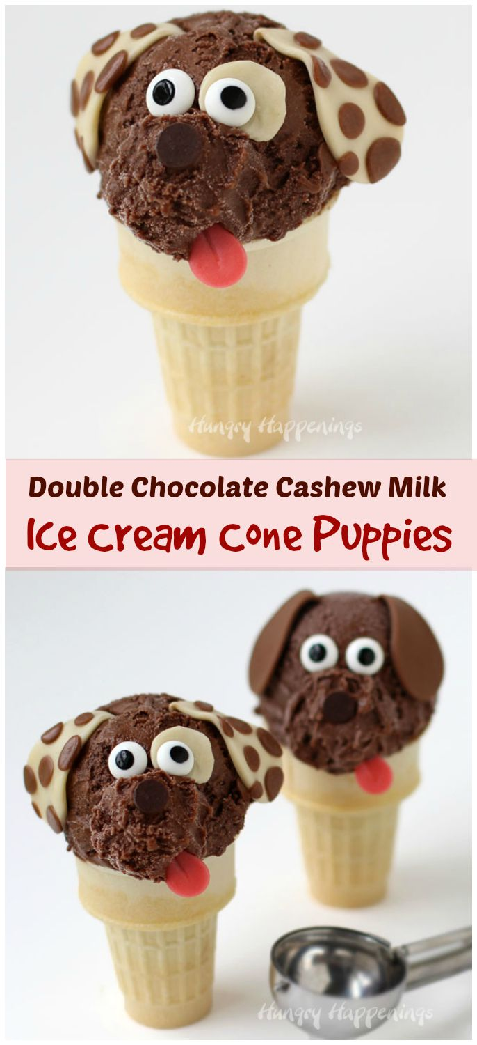 Turn an ordinary frozen treat into adorable Chocolate Cashew Milk Ice Cream Cone Puppies. Kids are gonna love them! Recipe from HungryHappenings.com