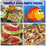 Treat your pool party guests to 3 amazing pizzas. They'll love customizing their own Grilled Pizzas and snacking on a Veggie Pizza Fish and a Strawberry Kiwi Fruit Pizza Watermelon. Recipes from HungryHappenings.com