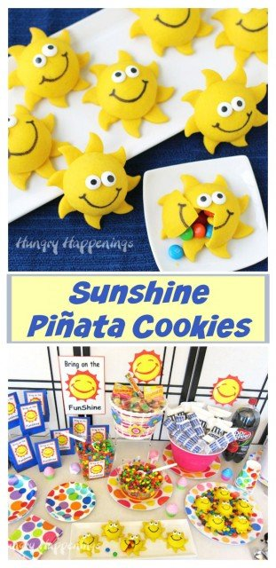Brighten any day by hosting a party and serving Smiley Face Sunshine Pinata Cookies. Recipe and party ideas from HungryHappenings.com