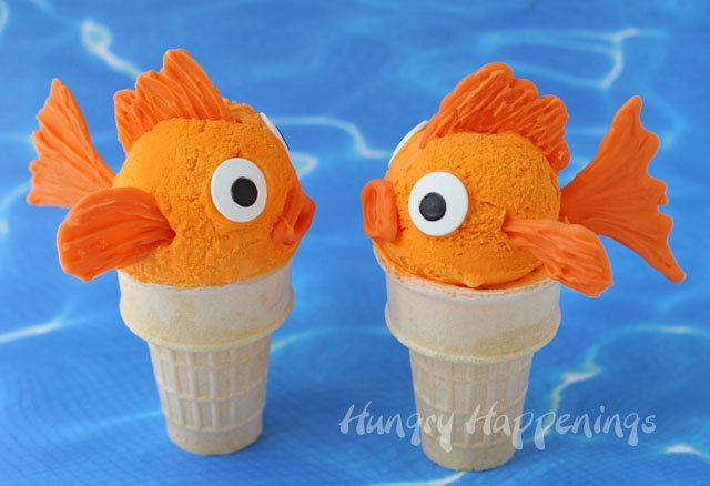 Goldfish Ice Cream Cones made with homemade no churn orange ice cream.