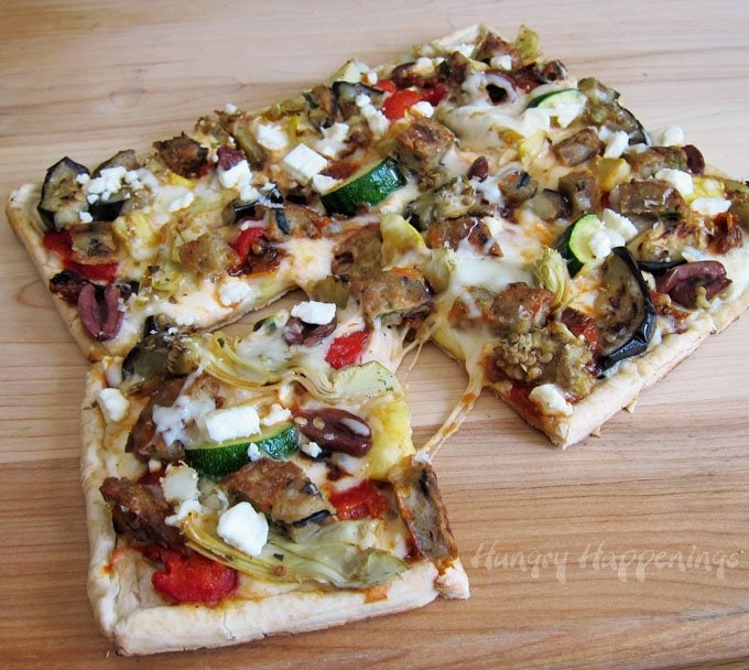 Grilled Veggie Pizzas topped with MorningStar Farms Veggie Pattes