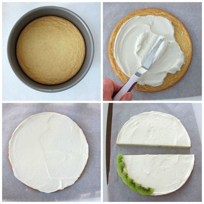 How to make a fruit pizza using a sugar cookie and cream cheese fluff.