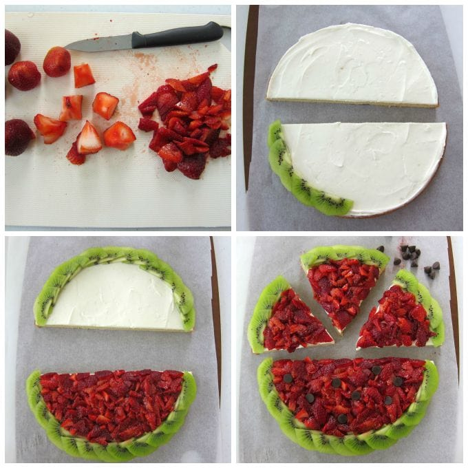 How to make a Strawberry Kiwi Fruit Pizza Watermelon instructions at HungryHappenings.com.