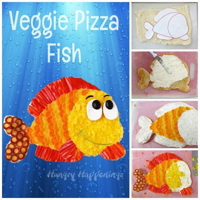 Have some fun with your vegetables. Make a fun Veggie Pizza Fish for your pool party. Tutorial at HungryHappenings.com