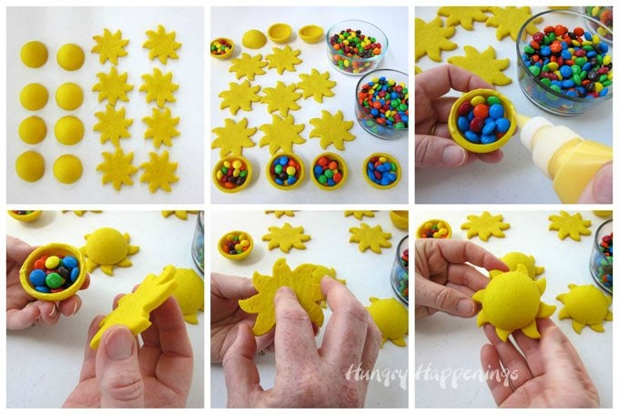 How to make candy filled pinata cookies shaped like suns.