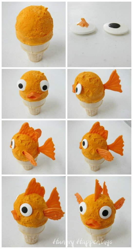 How to make Orange Ice Cream Cone Goldfish. Tutorial at HungryHappenings.com
