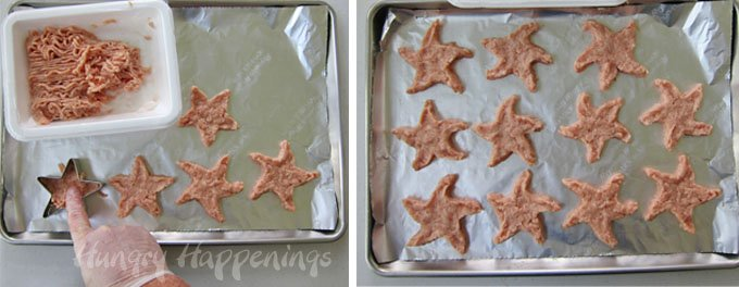 How to make starfish shaped chicken nuggets using ground chicken.