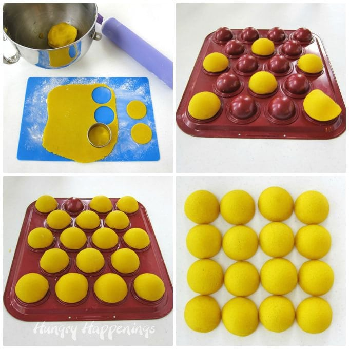 How to make sunshine pinata cookies. Bake half sphere cookies using a cake pop pan.