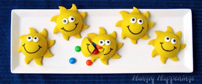 Fill 3-D smiley face sun cookies with candies to brighten up any day.