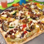 Top your Mediterranean Grilled Pizza with Grilled Veggies and MorningStar Farms Veggie Patties.