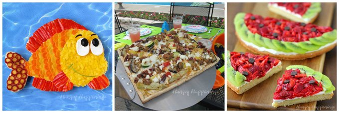 Make a splash at your pool party by serving a fun Fruit Pizza Fish, a Strawberry Kiwi Fruit Pizza Watermelon, and Grilled Veggie Pizzas.