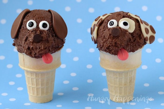 Serve up some fun this summer by making these cute Puppy Ice Cream Cones. Instructions at HungryHappenings.com