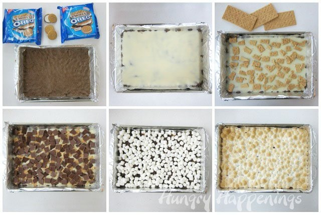 How to make S'mores Bars without a campfire. Recipe from HungryHappenings.com