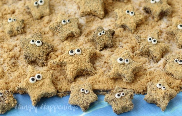 It's easy to make a beach full of S'mores Starfish for your beach or pool party. See how at HungryHappenings.com.