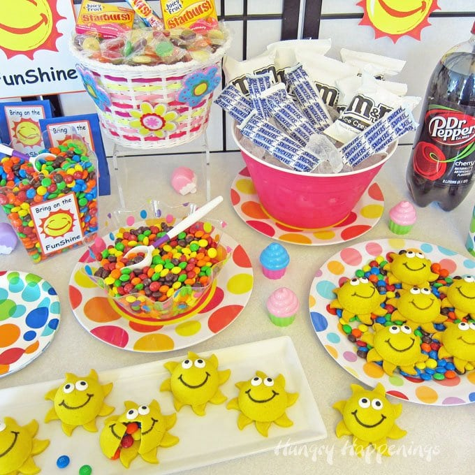 Throw together a summer party with colorful snacks including Sunshine Pinata Cookies filled with candies.