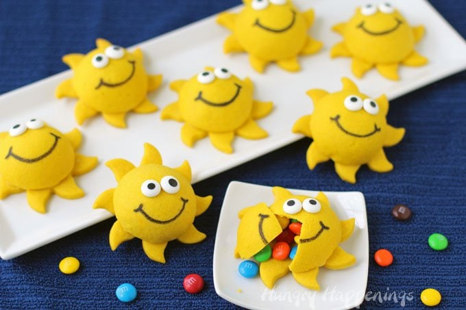 Even on a gloomy day you can enjoy the sunshine by make some cute Sunshine Pinata Cookies.