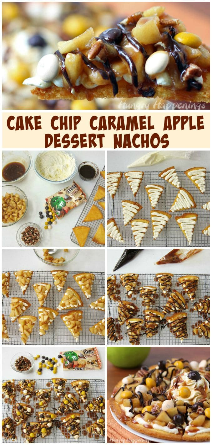 These Cake Chip Caramel Apple Dessert Nachos are one of the best desserts you'll ever taste. See how to make them at HungryHappenings.com.