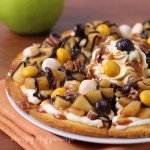 Caramel Apple Cake Chip Nachos Drizzled with Chocolate and Caramel Sauce, Toasted Pecans, and Pecan Pie M&M's