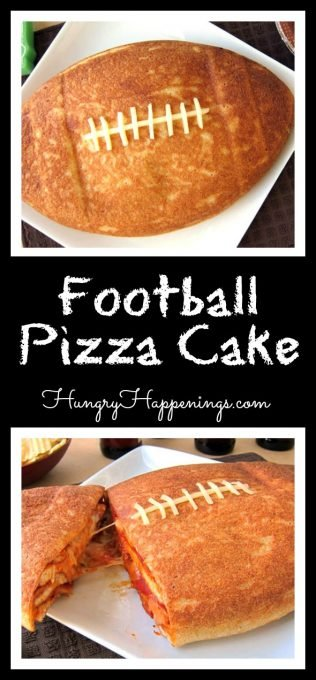 Football season has kicked off and it's time to create some festive food to serve while you are rooting on your favorite team. Cut into this Football Pizza Cake to reveal layers of pizza crust topped with zesty sauce, gooey mozzarella cheese, and loads of pepperoni.