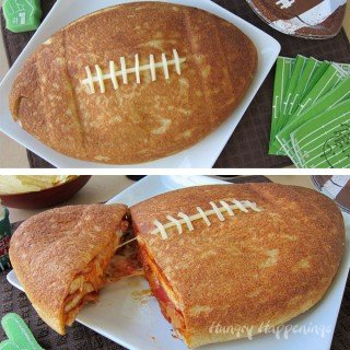Cut into this Football Pizza Cake to reveal layers of pizza crust, sauce, cheese, and pepperoni. Football fans are gonna love this fun appetizer.
