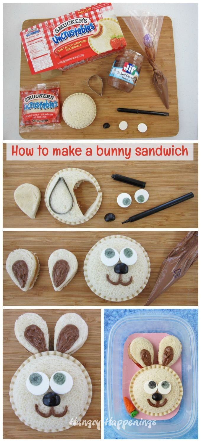 Turn a PB&J sandwich into a sweet bunny rabbit for your kid's lunch. They'll love it.