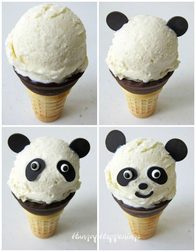 How to decorate vanilla ice cream cone panda bears using black Candy Melts.