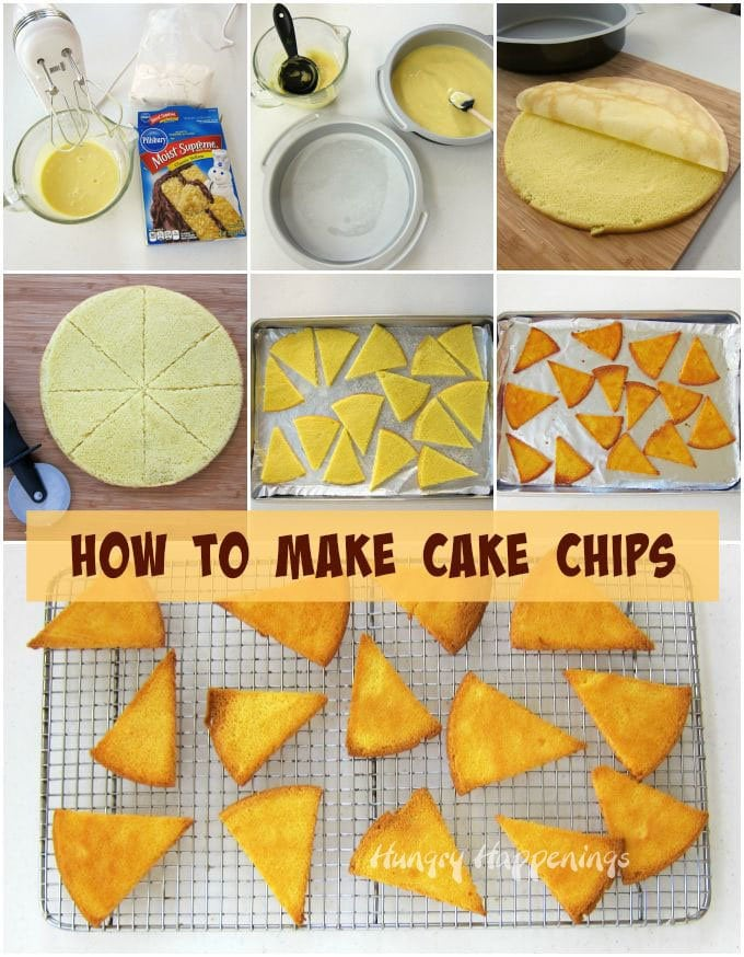Making homemade cake chips for dessert nachos is super easy. Check out the step-by-step tutorial at HungryHappenings.com