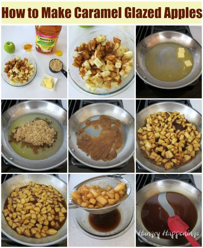 See the step-by-step instructions for making caramel glazed apples on HungryHappenings.com.