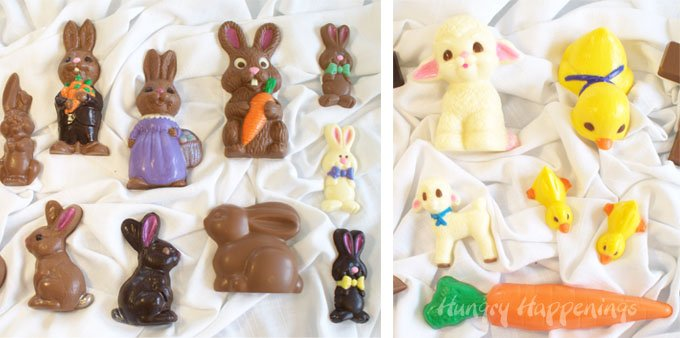 Hand painted Easter candies including chocolate Easter bunnies, white chocolate lambs, yellow candy ducks, orange carrots, and more.