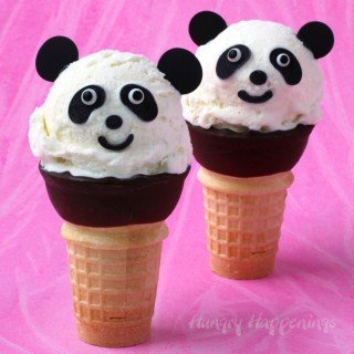 Turn a simple 3 ingredient No Churn Vanilla Custard Ice Cream into these sweet Ice Cream Cone Pandas for a party or an amazing afternoon snack.