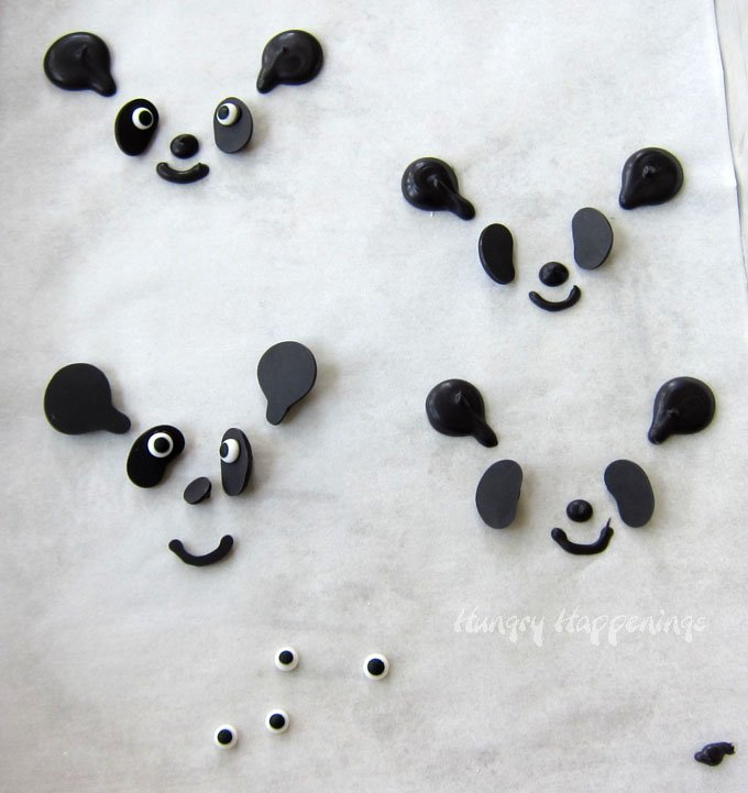 Make cute panda bear faces using black candy melts then decorate ice cream cone or cupcakes.
