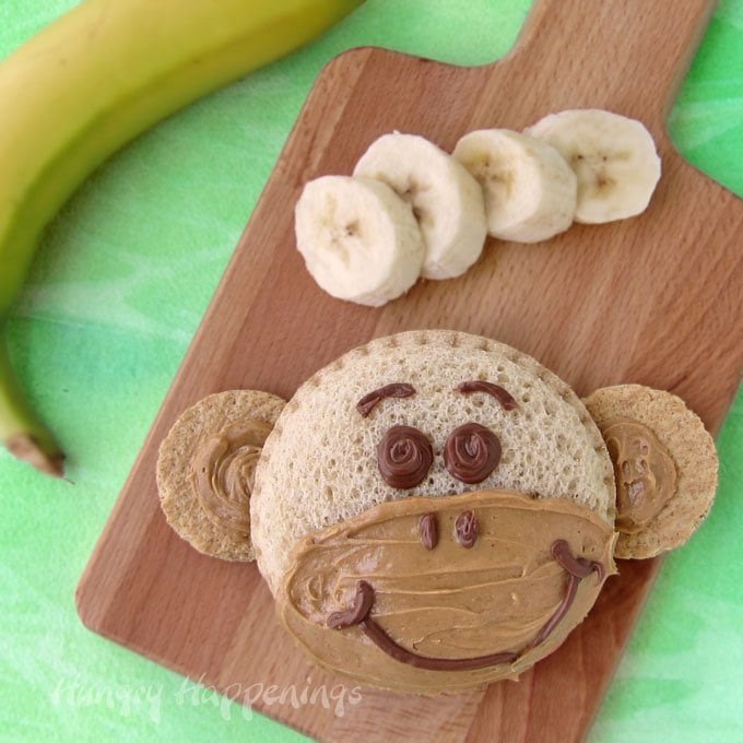 Turn a Smucker's® Uncrustables® into an adorbale monkey sandwich for your kid's lunch. They'll love it.