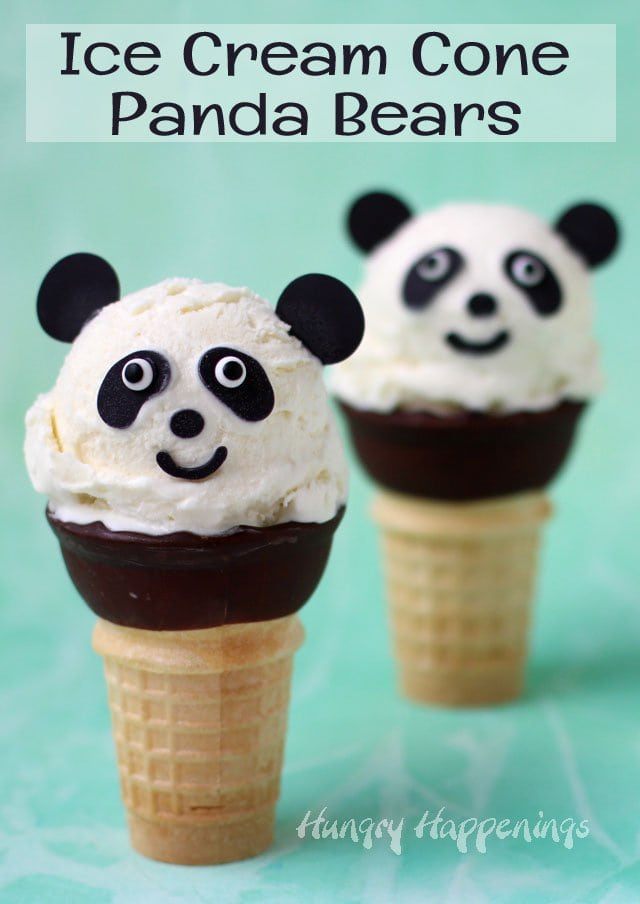 Rich and creamy vanilla custard ice cream is scooped onto chocolate dipped cones and decorated to look like adorable panda bears.