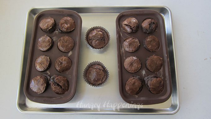 Bake a brownie mix using a Wilton Silicone Brownie Pops mold.