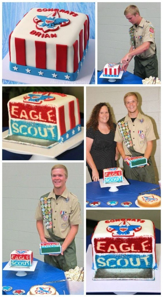 The highlight of this Eagle Scout Ceremony was when Brian cut into this amazing Eagle Scout Reveal Cake.