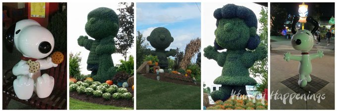 The Peanuts Gang including Charlie Brown and Snoopy are the mascots at Cedar Point and they decorate the grounds in fun ways.