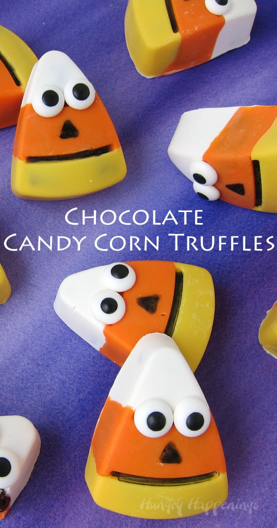 These cute Halloween treats are sure to appeal to adults and kids alike. Each decadent Chocolate Candy Corn Truffle has a yellow, orange, and white candy shell filled with luscious chocolate ganache, is decorated to look like a quirky little candy corn jack-o-lantern.