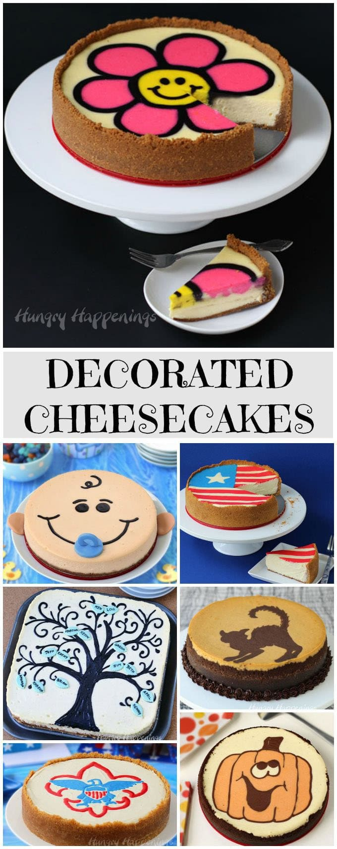 Transform an ordinary cheesecake into a festive dessert for any holiday or special occasion. Tutorials at Hungry Happenings.