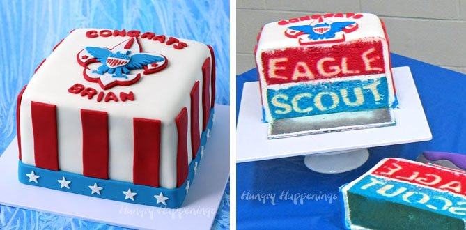 Cut into this regal Eagle Scout Cake to reveal the surprise hiding inside. Tutorial at Hungry Happenings.