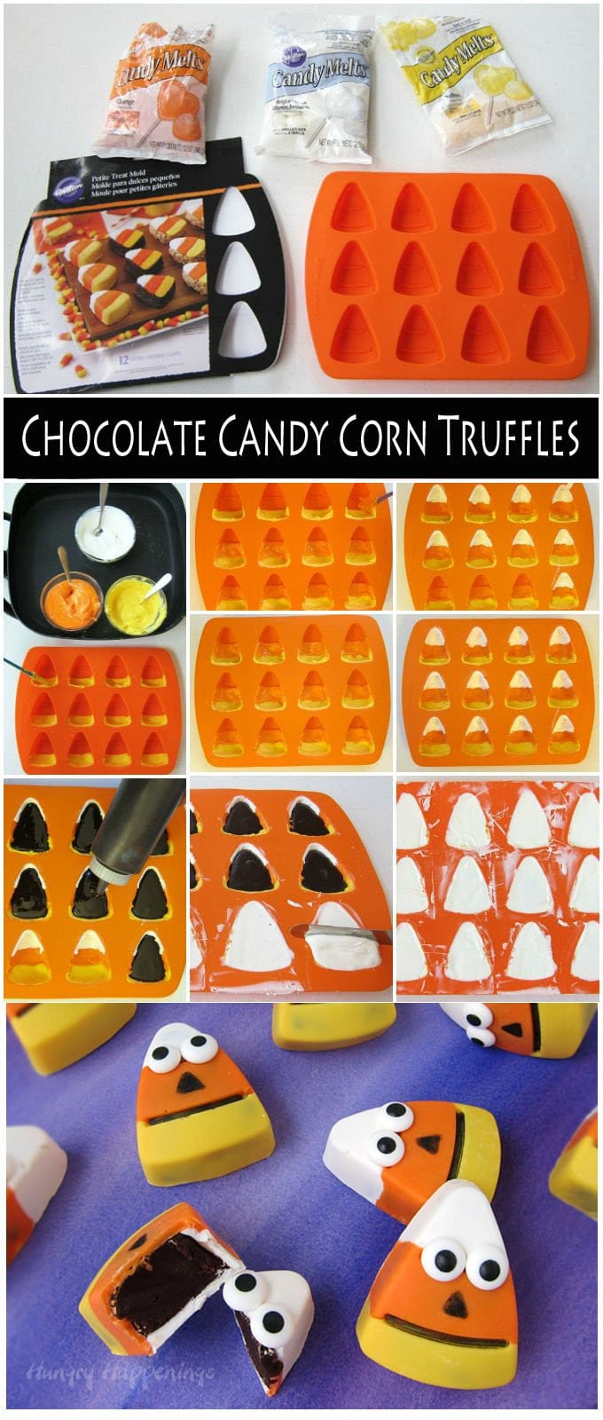How to make Chocolate Candy Corn Truffles with chocolate ganache centers. They make fun Halloween treats. Tutorial at Hungry Happenings.