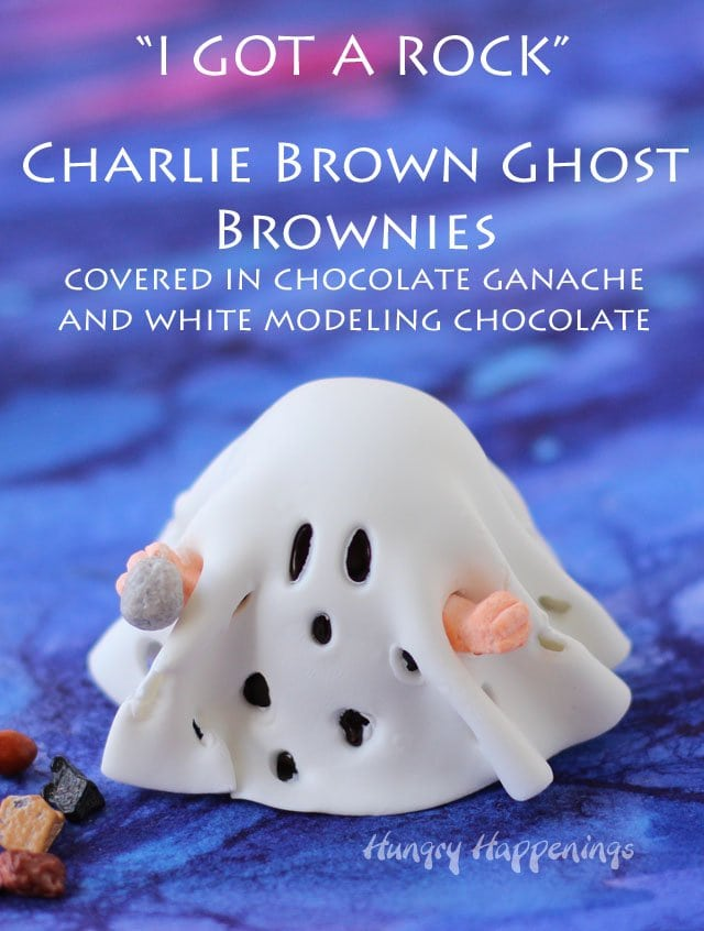 """I got rocks"" - Charlie Brown Ghost Brownies covered in chocolate ganache and white modeling chocolate."