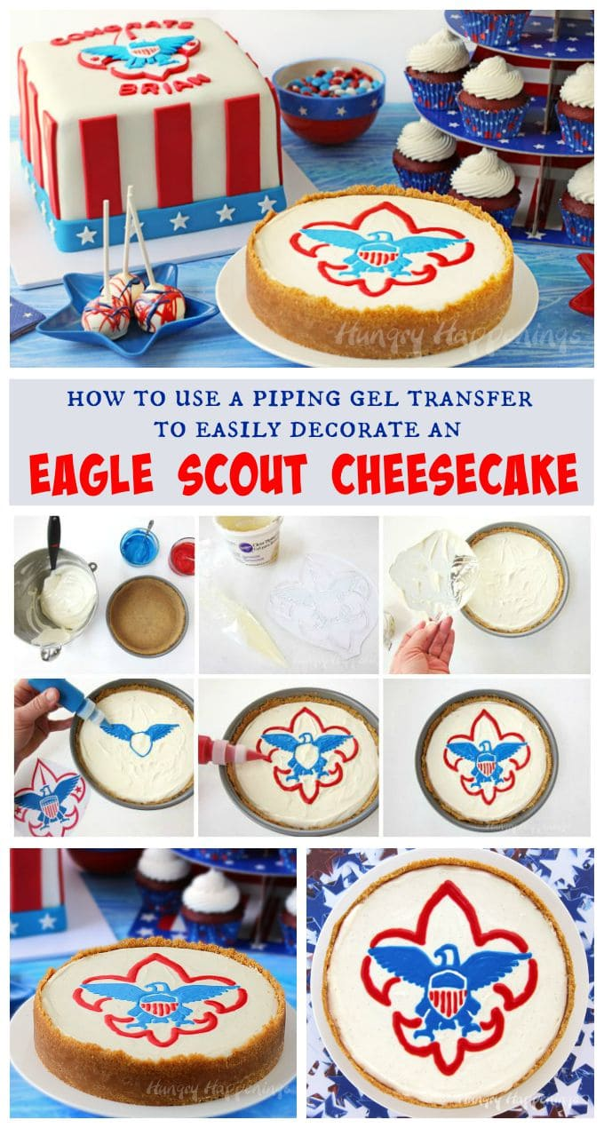 Add any image to the top of a cheesecake by using a piping gel transfer. This Eagle Scout Cheesecake was easy to create using this simple cake decorating technique. See the step-by-step tutorial at Hungry Happenings.