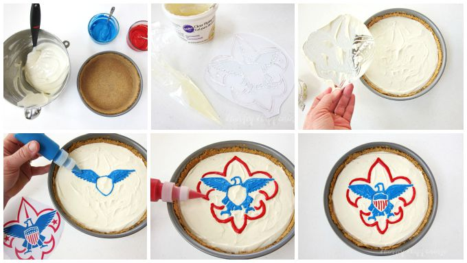 How to make an Eagle Scout Cheesecake using a piping gel transfer.