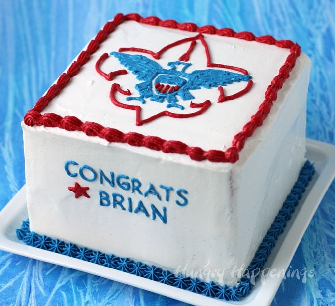 Celebrate your son's accomplishment by making this Red, White and Blue Eagle Scout Cake.