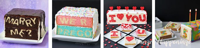 Surprise your friends and family by serving a really amazing Reveal Cake for any occasion. See the tutorials at Hungry Happenings.