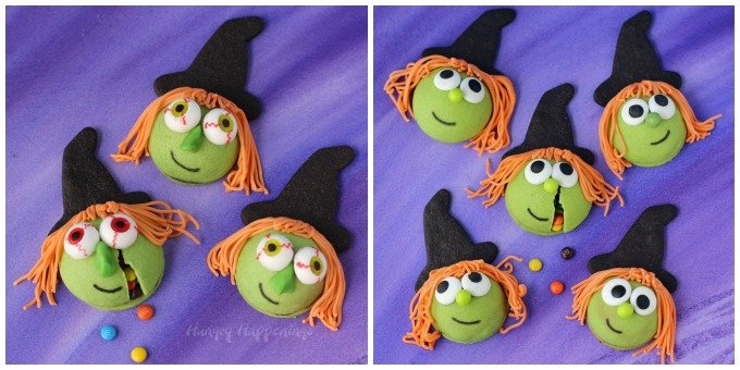 Which witch do you like best? Kooky or cute? Both are filled with candy and are made out of yummy sugar cookies for Halloween.