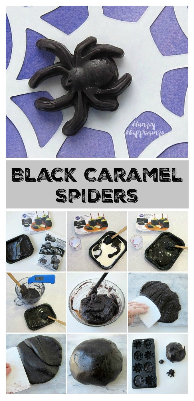Turn 3 ingredients into creepy Halloween treats to freak out your friends. See how to make these Black Caramel Spiders at HungryHappenings.com.